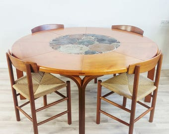 DANISH Round Oak Dining Table By Haslev Made in Denmark Tue Poulsen Studio Pottery Retro Vintage 1960's Danish Dining Table