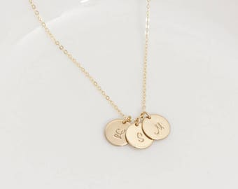 1,2,3,4,5,6 Initial Disc Charm (9.5mm) Necklace, Sterling Silver, Gold Filled, and Rose Gold  Personalized Necklace