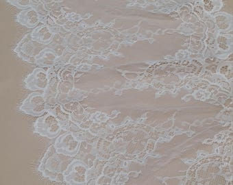 Ivory Lace Trim, French Lace, Chantilly Lace, Bridal Gown lace, Wedding Lace, White Lace, Veil lace, Garter lace, Lingerie Lace EVSL145