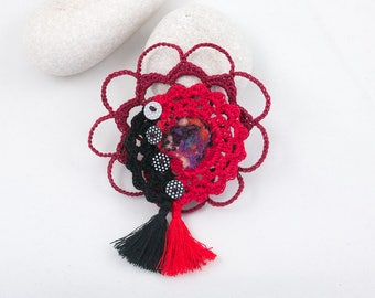 Textile brooch-Crochet lace brooch, Red-Black