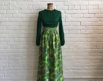 Early 1970s Green Floral Maxi Dress // 70s Long Sleeve Maxi Dress // Vintage 1970s XS Maxi Dress