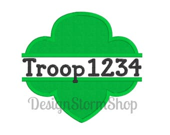 Scout Applique Trefoil Design/Girl/Split Machine Embroidery Frame/Instant Download File