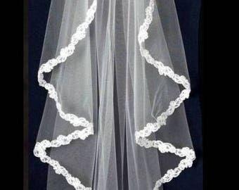 Flutter Cut Beaded Lace Edge Fingertip Length Wedding Veil