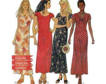Women's Dress Sewing Pattern, Long Ankle Length, Misses Size 6-8-10-12-14-16 UNCUT New Look 6833