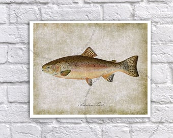 Rainbow Trout Fish Print- Trout Fishing Art - Fly Fishing - Angling Art - Fly Fishing Decor - Trout Wall Decor - Fishing Retirement Gift