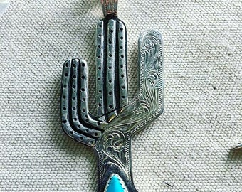Cacti turquoise and silver pendant