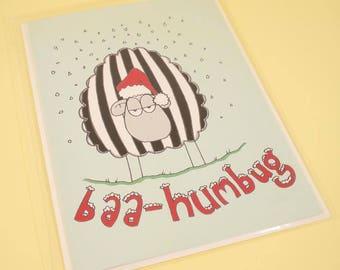 Baa Humbug sheepy Christmas card - original illustration, Christmas card, greetings card