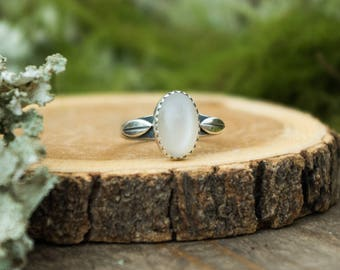 Double Leaf Ring, Sterling Silver and White Moonstone, Size 7