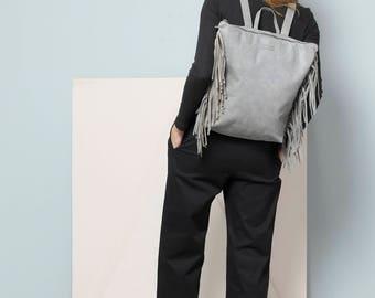 """Fringe Leather Backpack, Grey Backpack, 17"""" Laptop Backpack, Grey Leather Backpack, Fringe Bar, Sale!"""