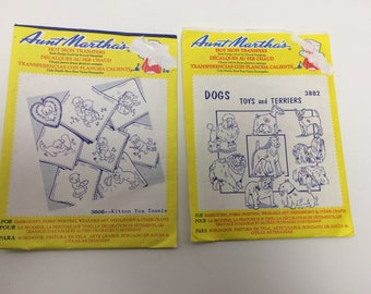 Aunt Martha's Hot Iron Transfers Set of Two (2) 3606-Kitten Tea Towels & 3882-Dogs Toys and Terriers Vintage