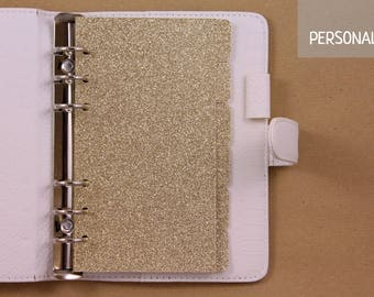 Gold personal dividers, planner dividers set, 6 dividers glittered cardstock, gold dividers for planner with 6 rings