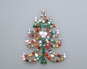 Colorful Rhinestone Vintage Christmas Tree Pin Brooch Czechoslovakia