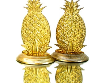 Vintage Hollywood Regency Brass Pineapple Bookends