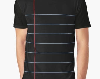 Vintage Black Gel Pen Notebook Paper Graphic Unisex T-shirt. Also available in Ladies Chiffon Top and Tank. Classic back to school fashion!