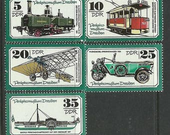 Dresden Transport Museum 1977 Postage Stamps - East Germany - Decoupage, Collage, Mixed Media
