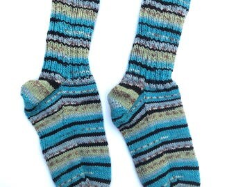 Hand Knit Nordic Style Variegated Socks - Soft Comfy Slouchy and Durable Boot or Slipper Socks