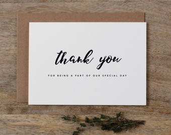 5 x Thank you for being a part of our Special Day - Wedding Thank You Card - Wedding Card, Wedding Thank You Cards, Wedding Thank You, K8