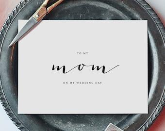 Wedding Card To My Mom Wedding Day - To My Mother Wedding Card, Wedding Stationery, To My Mom, Thank You Wedding Card, Wedding Note, K4