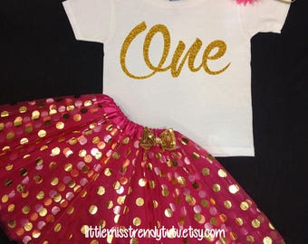 Pink First Birthday Outfit, First Birthday Tutu Set, Pink Gold Birthday Tutu, Pink Birthday Shirt Tutu Set, Girls Birthday Outfit, Tutu