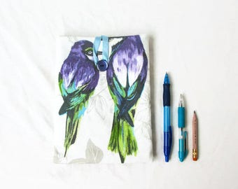 IPad Mini 4 cover, bird print fabric, fabric tablet cover, Ipad Mini cover, padded tablet sleeve, gift for her, handmade in the UK