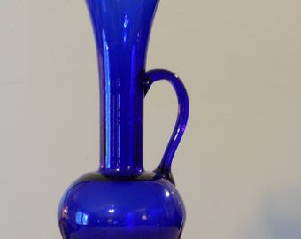 Cobalt Blue Slender Pitcher Vase