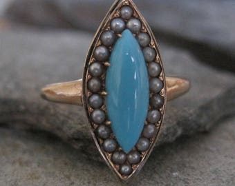 Victorian Turquoise and Pearl Navette Ring in 14k Yellow Gold - JL877
