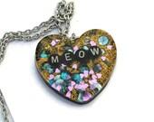 Meow Kitty Cat Necklace Cute Kawaii Pendant Kitten Cosplay Jewelry Heart Glitter Holographic Jewelry