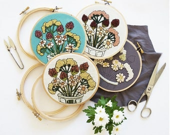 RE-RELEASED + Only Available through end of the month!: 2017 February Flowers Contemporary Embroidery Pattern PDF by Sarah K. Benning