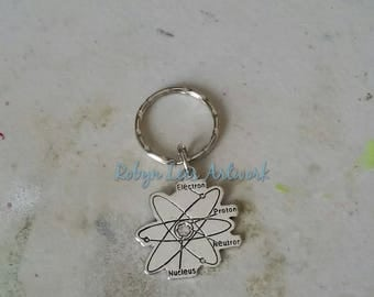 Silver Atom Keyring on Split Ring or Bag Clip with Nucleus, Neutron, Proton and Electron Labels. Scientific, Science, Physics, Chemistry