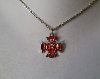 Red & Silver Fire Dept Cross Badge Necklace with Red Rhinestones on Silver Crossed Chain or Black Faux Suede Cord