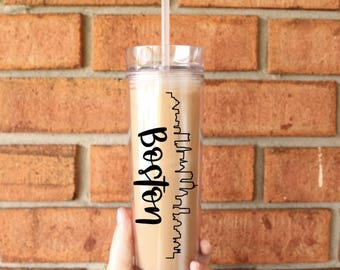 Boston Skyline Tumbler | Boston , Massachusetts | Tall Skinny Coffee Tumbler | Iced Coffee Cup | Southern Sweetheart Gifts