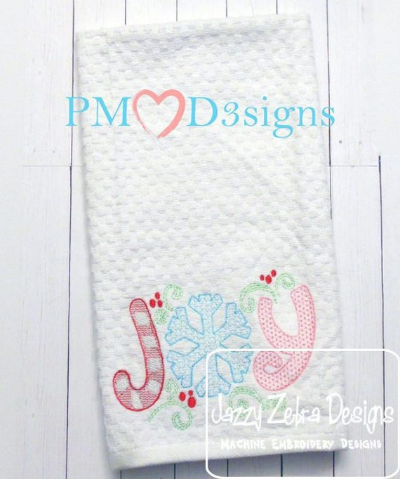 Joy word motif filled embroidery design - joy embroidery design - snowflake embroidery design - winter embroidery design - candy cane