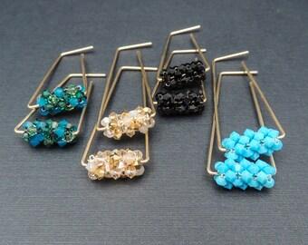 Modern Gold Hoop Earrings, Modern Gold Hoops, Swarovski Statement Earrings, Gold Statement Hoops, Turquoise Earrings