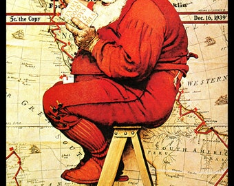 Norman Rockwell Art Print, Santa Claus Planning His Route, Classic 1939 Collectible Christmas Art, Vintage Illustration, Holiday Decor