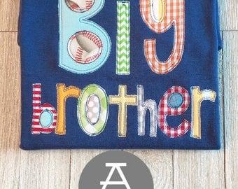 Big Brother Shirt | Baby Announcement | Siblings | Appliqué | Monogram