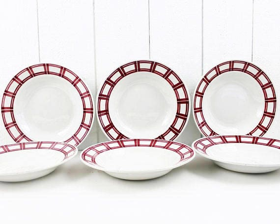 Like this item?  sc 1 st  Etsy & Rustic Christmas Dinnerware Set Red and White Ceramic Plates
