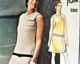 RARE 60s Patou Mod Dress Pattern Vogue Paris Original 2302 Unique Details Day or Cocktail Party Dress Bust 34 Vintage Sewing Pattern UNCUT