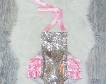 Soft Pink Silver Sequin Romper / Baby Romper / Romper / First Birthday Outfit