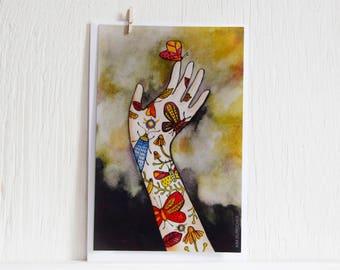 Large colorful dia de los muertos postcard  illustrated by Kim Durocher