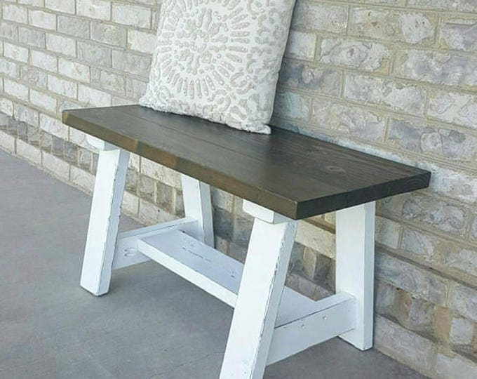 Small Wood Bench - Small Entryway Bench - Decorative Bench - Front Porch Bench - Dining Table Bench - Bench - Farmhouse Bench