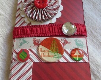 "Paper Christmas mini gift tag album w/ pockets, 3"" x 4 -1/2"", vintage children, cats, red, green stripes, 10 pockets, 20 gift tags."