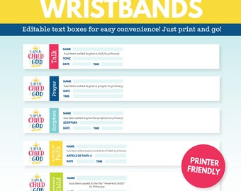 2018 LDS Primary Theme Assignment Wristbands - I am a Child of God