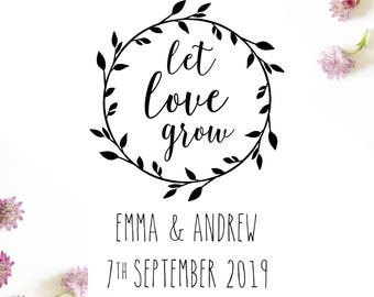 "LET LOVE GROW Stamp - personalised wedding wreath stamp, card stamp, invitation stamp, gift tag stamp, wedding stationery, 2""x3"" (cts188)"