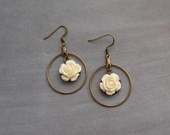 White Rose Romantic Earrings, Earrings, Vintage Earrings, Hoop Earrings, Boho Earrings, Bohemian Earrings, Gift Under 20 Dollar, Wedding.