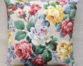 Floral 1950s Barkcloth Fabric Cushion 40cmx40cm