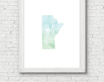 Manitoba Province Printable - digital download, dorm decor, clean and simple, watercolor, minimalist art, canada province outline