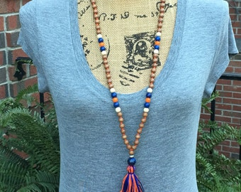 long beaded necklace Game Day Beaded tassel necklace blue orange brown wood beaded necklace Bohemian necklace boho necklace jewelry Game Day