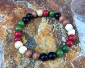 mens bracelet wood beaded bracelet stretch bracelet stacking bracelet women's bracelet colorful wooden bead bracelet  yoga bracelet bohemian