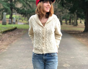 Ivory Wool Sweater Cardigan / Cable Knit Chunky Vintage J.Crew Shawl Collar Sweater