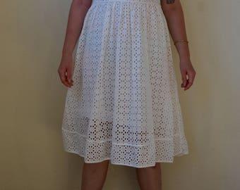 "White eyelet ""prairie"" dress- S/M"